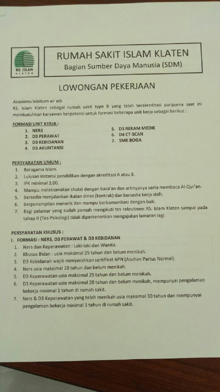 Lowongan Pekerjaan, Rumah Sakit Islam Klaten Bag. Sumber Daya Manusia (SDM)