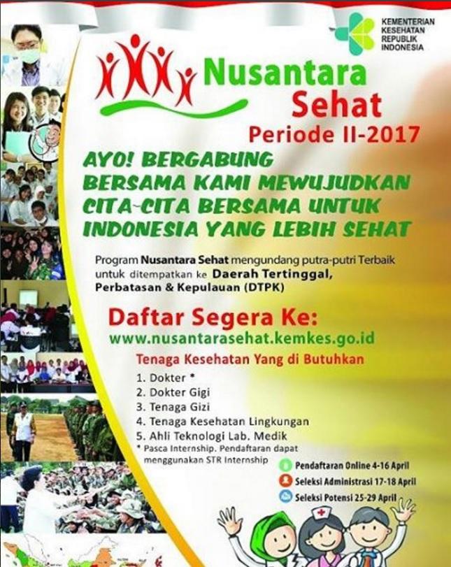 Pendaftaran Nusantara Sehat Periode II 2017