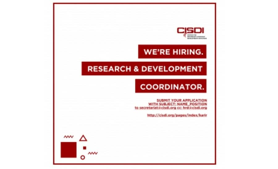 CISDI, We're Hiring Reasearch & Development Coordinator