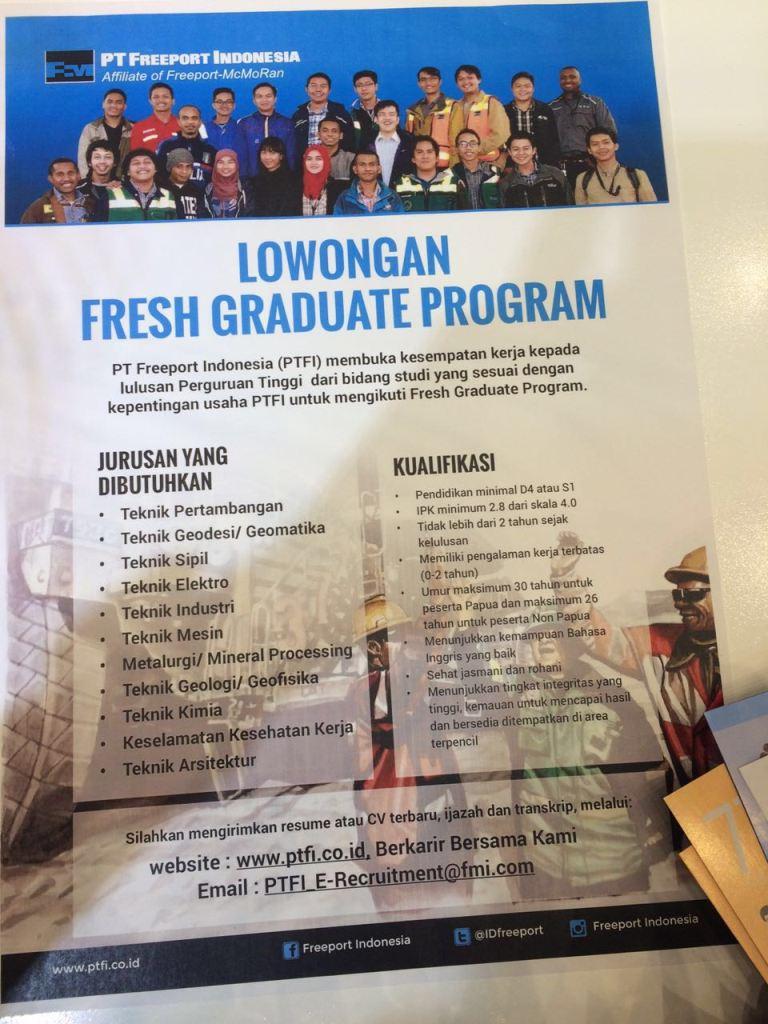 Lowongan Kerja Fresh Graduate Program di PT. Freeport Indonesia