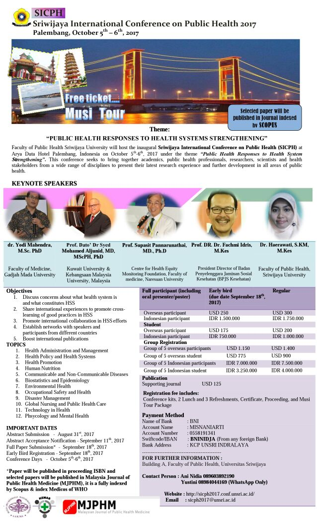 Poster SRIWIJAYA INTERNATIONAL CONFERENCE ON PUBLIC HEALTH 2017