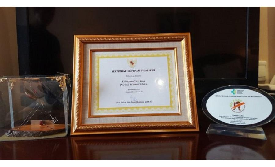 Selamat! Enrekang Dapat Penghargaan Eliminasi Filariasis dari Kemenkes