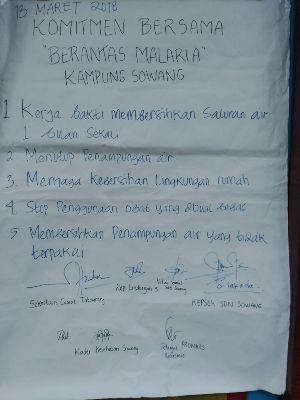 Komitmen Bersama Berantas Malaria Kampung Sowang