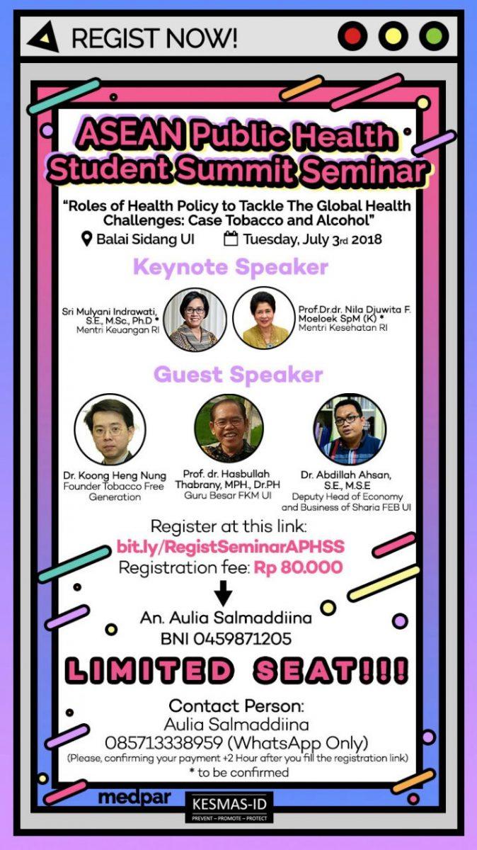 SEMINAR ASEAN PUBLIC HEALTH STUDENT SUMMIT 2018