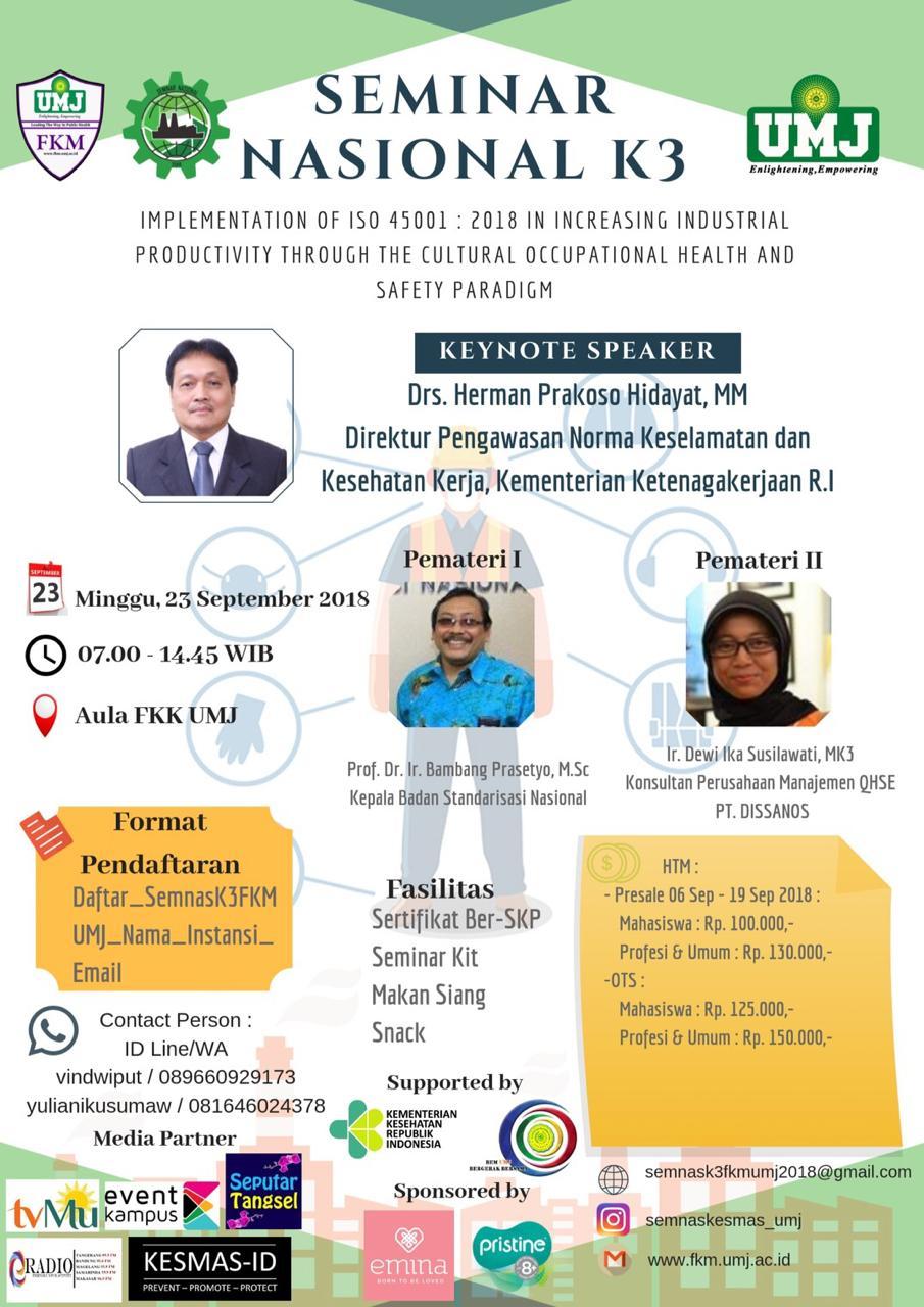 Seminar Nasional K3 Mahasiswa FKM Universitas Muhammadiyah Jakarta