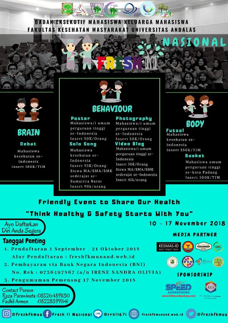FRESH 11 Nasional BEM KM FKM Universitas Andalas, Buruan Daftar!