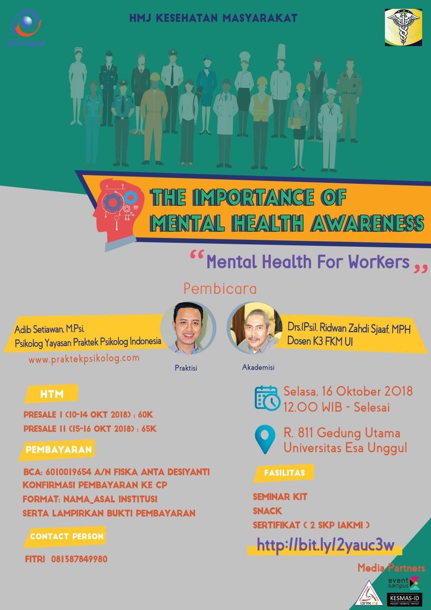 Seminar Kesehatan Mental Mahasiswa Kesmas Univ. Esa Unggul, Daftar Yuk!