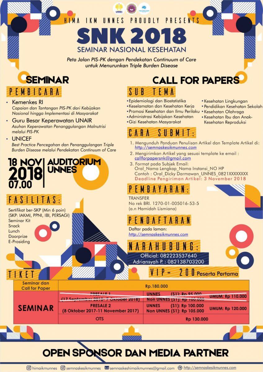 Seminar Nasional HIMA IKM UNNES, Tema Peta Jalan PIS-PK, Daftar Yuk!