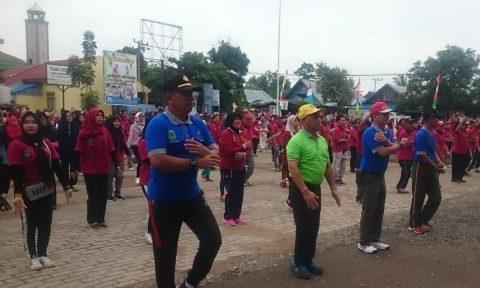 UPT Puskesmas Pasar Sabtu Bersama Pemerintah Kecamatan Sungai Tabukan Kampanyekan Germas Kepada Masyarakat
