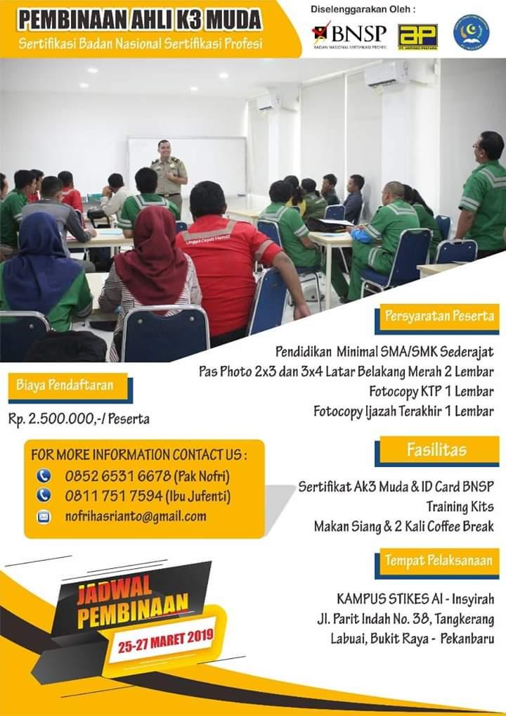 Pelatihan Ahli K3 Muda Bersama STIKes Al Insyirah Pekanbaru