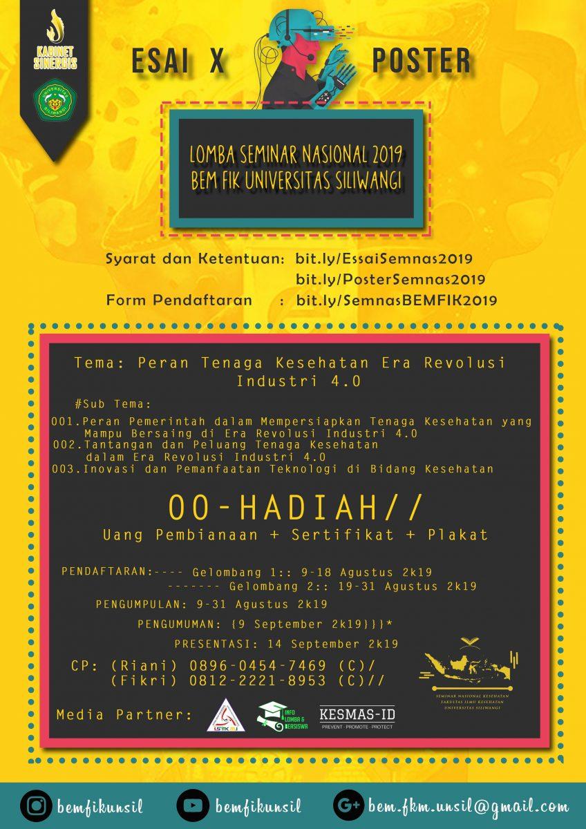 Yuk Ikutan Lomba Essay - Poster BEM FIK Universitas Siliwangi!