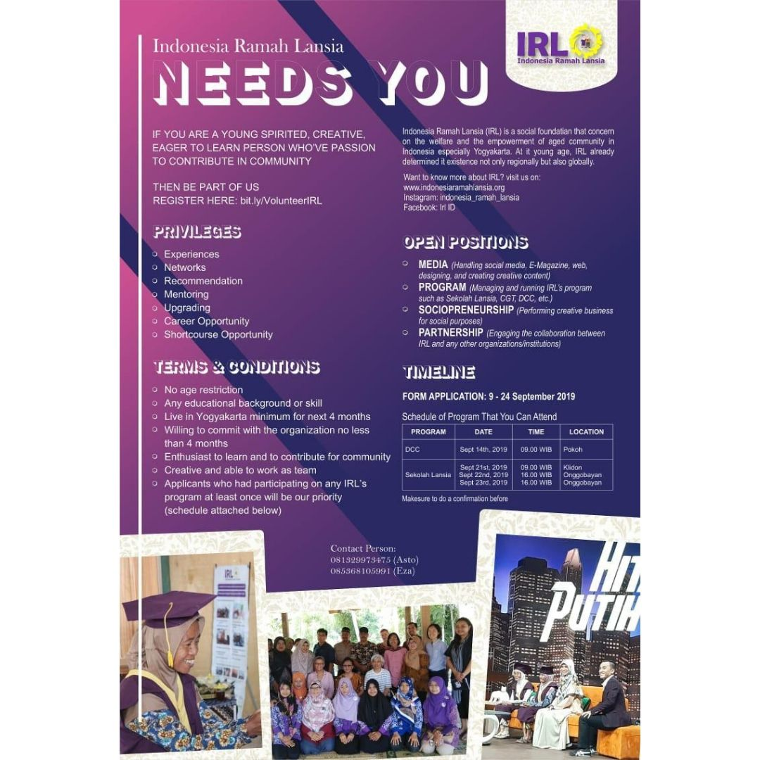 Come join us as VOLUNTEER of Indonesia Ramah Lansia