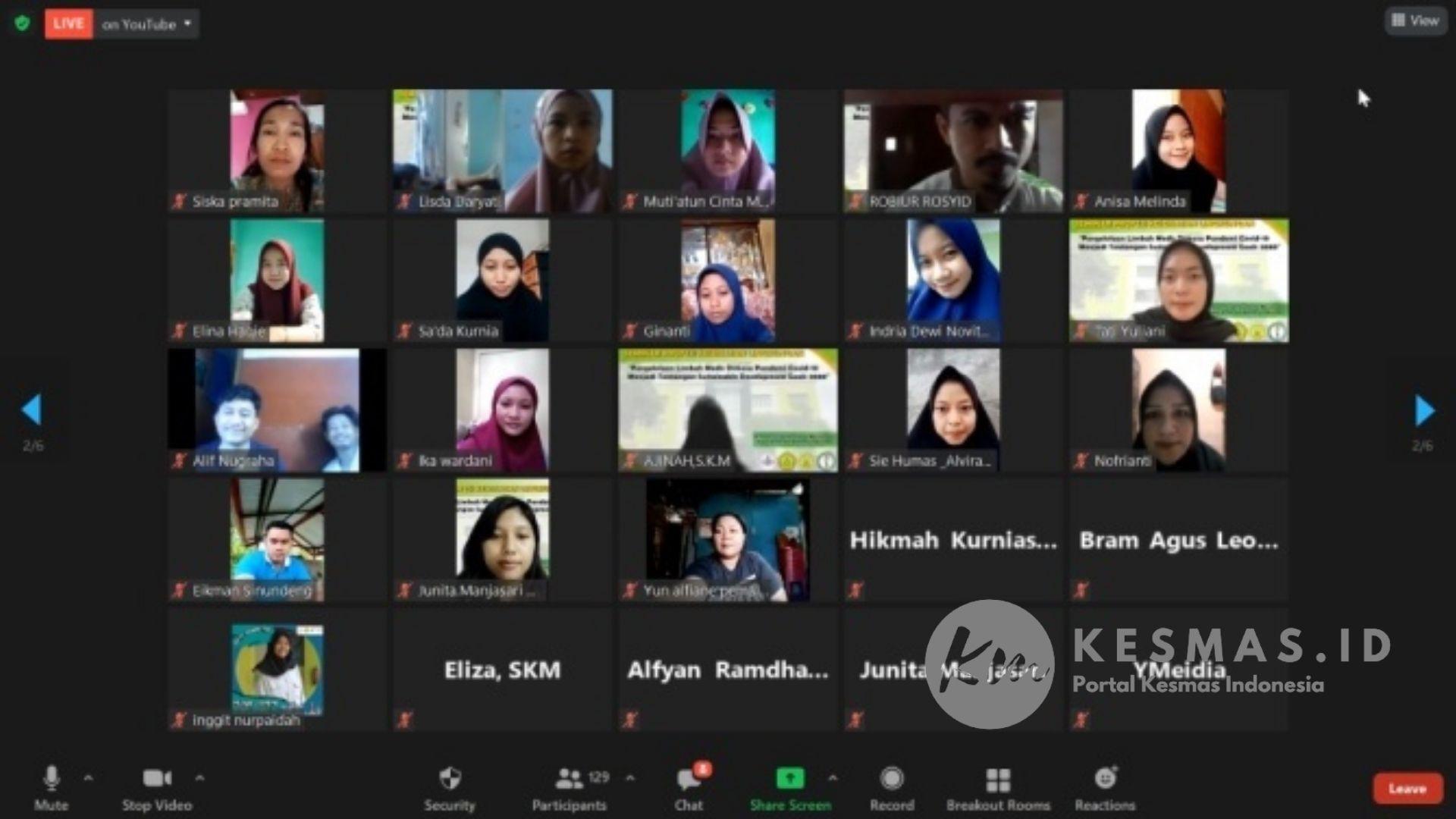 Peserta Seminar Profesi Limbah Medis Mahasiswa Kesling STIKes Kuningan 2021