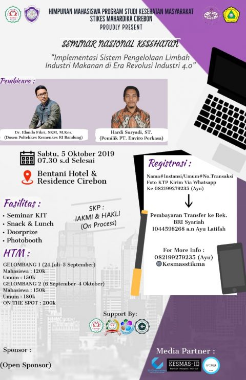 Seminar Nasional Kesling 2019 STIKes Mahardika Cirebon, Yuk Daftar!