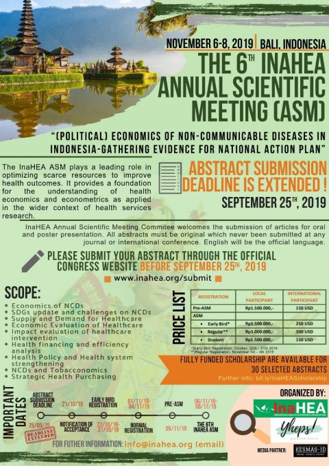 Call For Abstracts The 6th InaHEA Annual Scientific Meeting