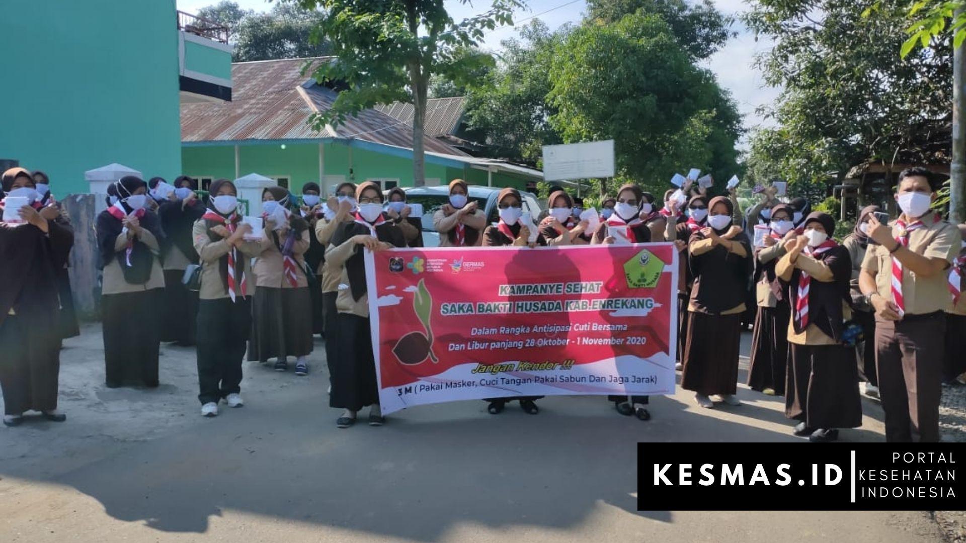 Dinas Kesehatan Enrekang Gandeng Saka Bakti Husada (SBH) Kampanyekan Gerakan Pakai Masker