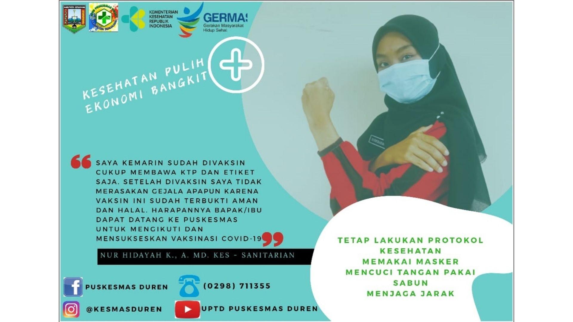 Pelaksanaan Vaksinasi Covid-19 Tahap Pertama di Puskesmas Duren Kab Semarang